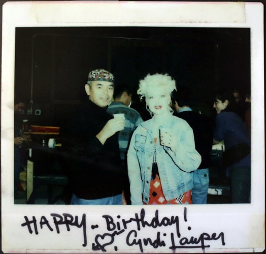 my father with Cyndi Lauper